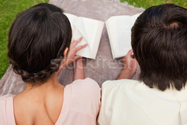 Stock fotó: Hátsó · nézet · férfi · nő · olvas · könyvek · pléd