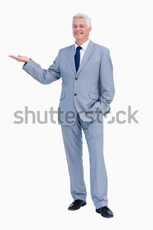 Portrait of a happy  businessman praising against white babckground Stock photo © wavebreak_media