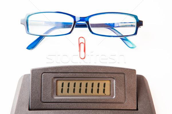 Számológép kirakat kék szemüveg piros gemkapocs Stock fotó © wavebreak_media
