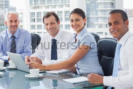 Sorridere uomini d'affari computer caffè Foto d'archivio © wavebreak_media