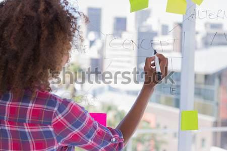 Designer looking at flowchart on window Stock photo © wavebreak_media