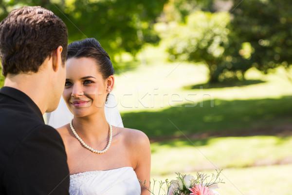 Romântico recém-casado casal olhando outro parque Foto stock © wavebreak_media