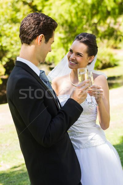 Stockfoto: Newlywed · champagne · fluiten · park · gelukkig