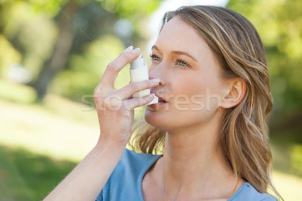Kadın astım park genç kadın kadın Stok fotoğraf © wavebreak_media
