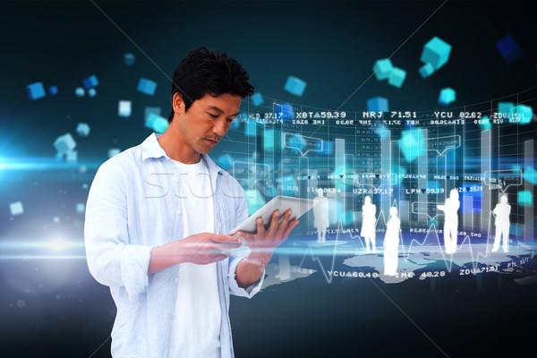 Lezser férfi tabletta interfész digitális kompozit háló Stock fotó © wavebreak_media