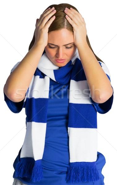 Teleurgesteld voetbal fan naar beneden te kijken witte vrouw Stockfoto © wavebreak_media