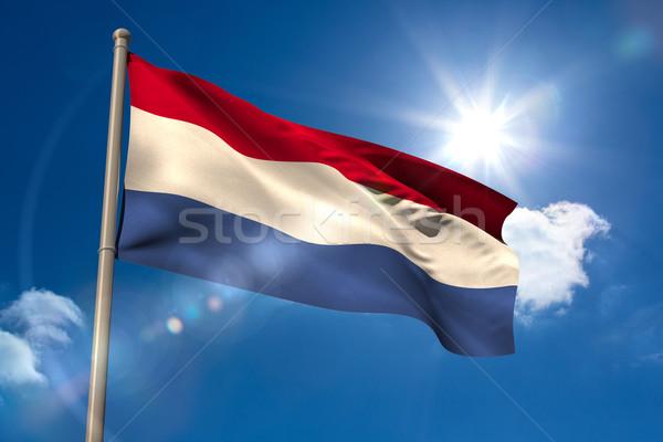 Нидерланды флаг флагшток Blue Sky солнце свет Сток-фото © wavebreak_media