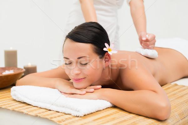 мирный брюнетка травяной массаж Сток-фото © wavebreak_media