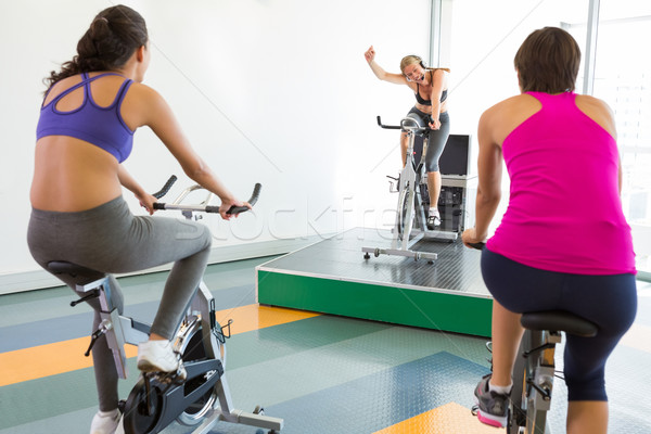 спин класс инструктор спортзал Сток-фото © wavebreak_media