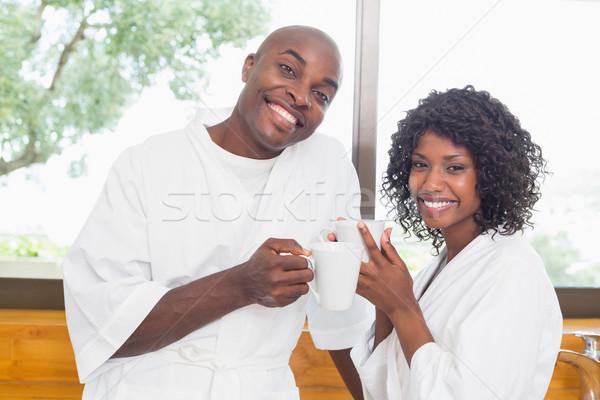 счастливым пару кофе вместе домой кухне Сток-фото © wavebreak_media