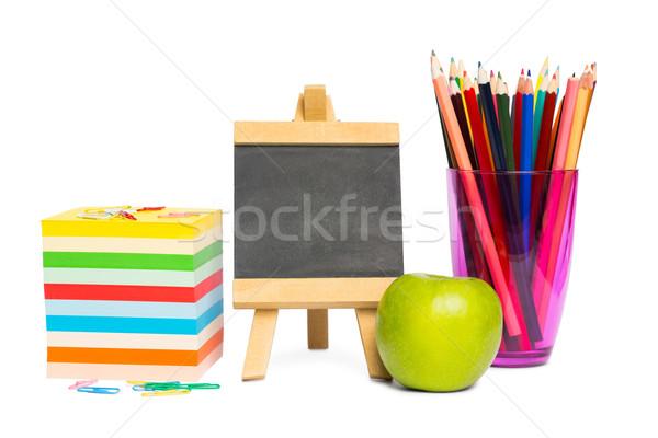 черный доске школьные принадлежности белый яблоко образование Сток-фото © wavebreak_media