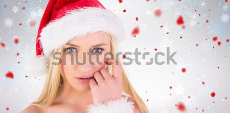 Festive brunette keeping a secret Stock photo © wavebreak_media