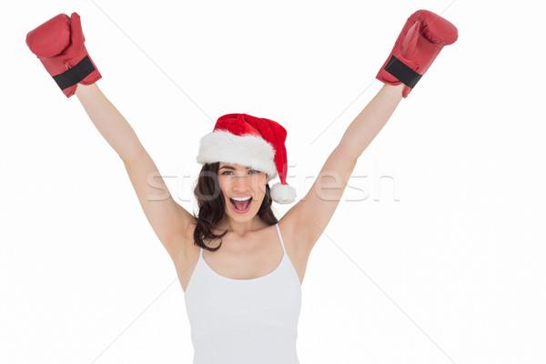 брюнетка боксерские перчатки белый красоту Сток-фото © wavebreak_media