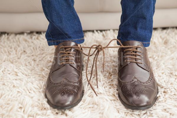 Stílusos cipőfűző együtt otthon nappali kanapé Stock fotó © wavebreak_media