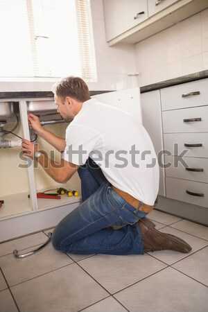 водопроводчика раковина кухне человека работу Сток-фото © wavebreak_media