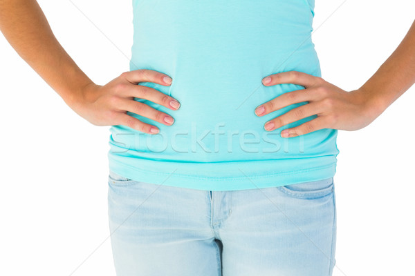 Ince kadın eller kalça beyaz kadın Stok fotoğraf © wavebreak_media