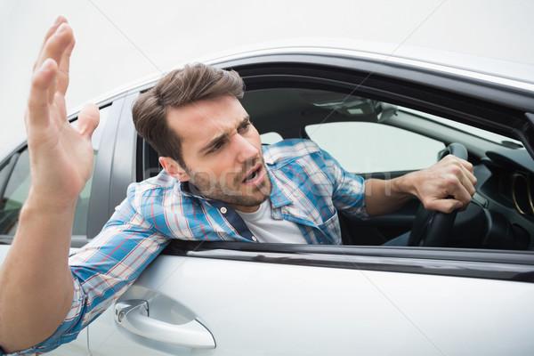 молодым человеком дороги ярость автомобилей окна гнева Сток-фото © wavebreak_media
