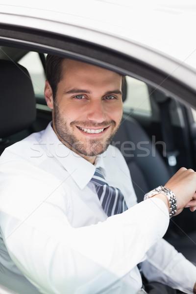 молодые бизнесмен сиденье автомобилей бизнеса счастливым Сток-фото © wavebreak_media