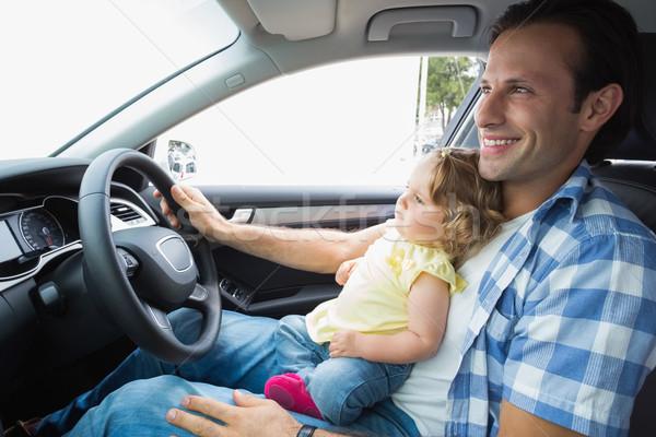 Pai jogar bebê assento carro menina Foto stock © wavebreak_media