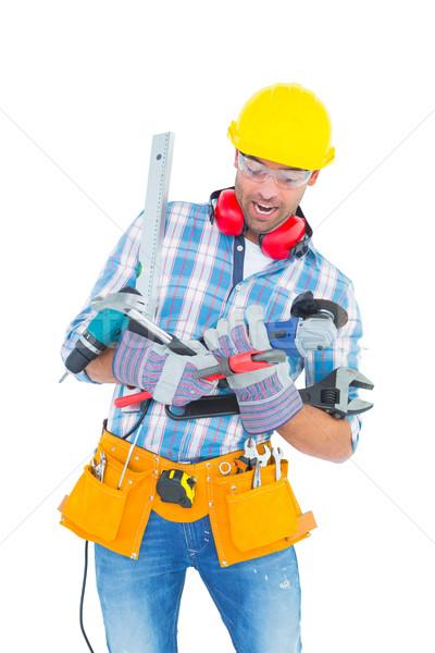 Werknemer balancing tools witte Stockfoto © wavebreak_media