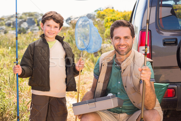 Filho pai pescaria trio homem feliz Foto stock © wavebreak_media