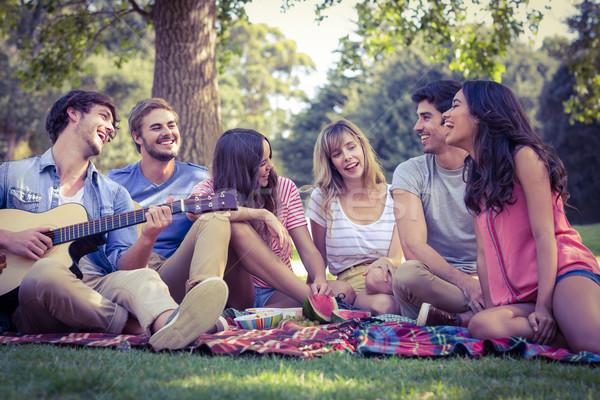 happy friends in a park having a picnic Stock photo © wavebreak_media