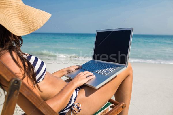 かなり ブルネット ラップトップを使用して デッキ 椅子 ビーチ ストックフォト © wavebreak_media