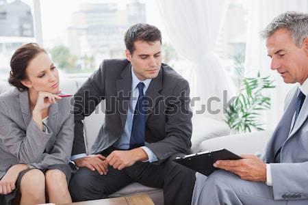 Zakenman klanten hand kantoor man gelukkig Stockfoto © wavebreak_media