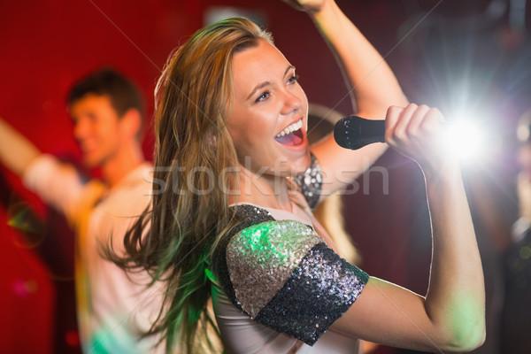 幸せ ブロンド 歌 カラオケ パーティ マイク ストックフォト © wavebreak_media