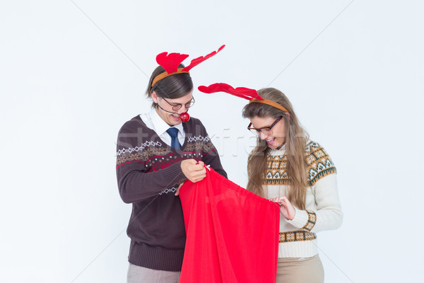 Happy geeky hipster couple with stag headband  Stock photo © wavebreak_media