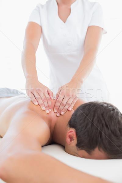 Omuz masaj hasta tıbbi ofis kadın Stok fotoğraf © wavebreak_media
