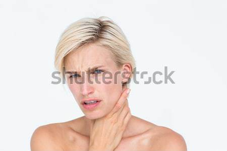 Csinos szőke nő szenvedés torok fájdalom fehér Stock fotó © wavebreak_media