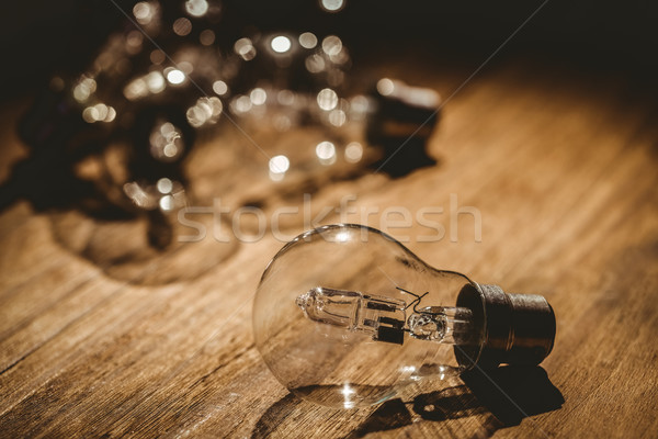 Lâmpadas mesa de madeira textura madeira secretária retro Foto stock © wavebreak_media