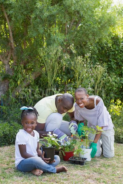 Felice sorridere Coppia giardinaggio figlia home Foto d'archivio © wavebreak_media