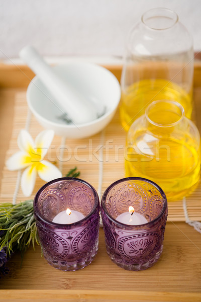 Massage tray with candles and oil Stock photo © wavebreak_media