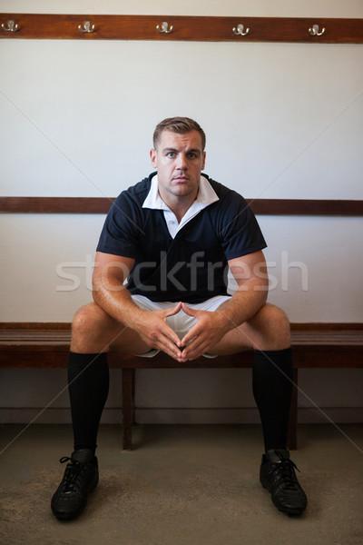 портрет регби игрок сидят скамейке Сток-фото © wavebreak_media