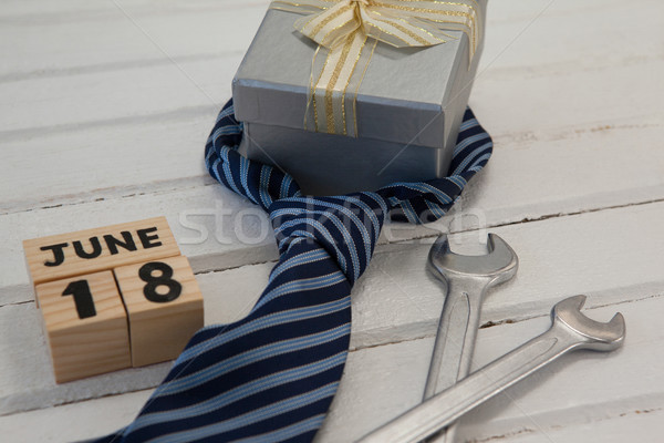 Calender date and gifts for fathers day on table Stock photo © wavebreak_media