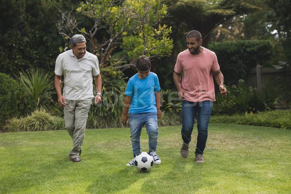 Felice famiglia giocare calcio parco insieme Foto d'archivio © wavebreak_media