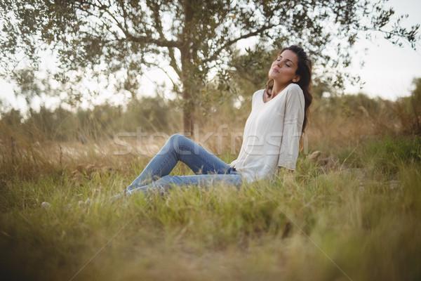 Jeune femme herbeux domaine ferme belle Photo stock © wavebreak_media