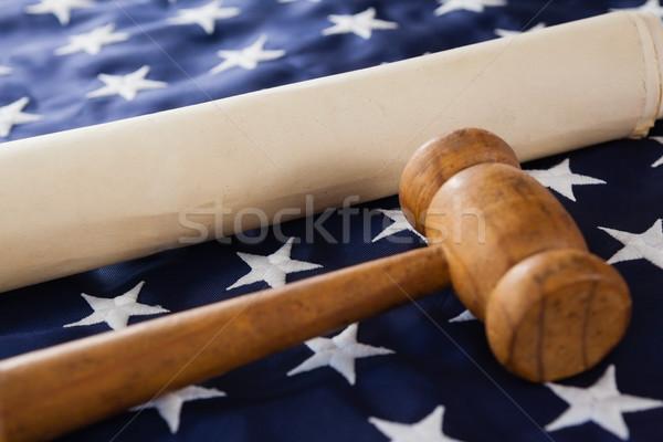 молоток документа американский флаг фон флаг Сток-фото © wavebreak_media