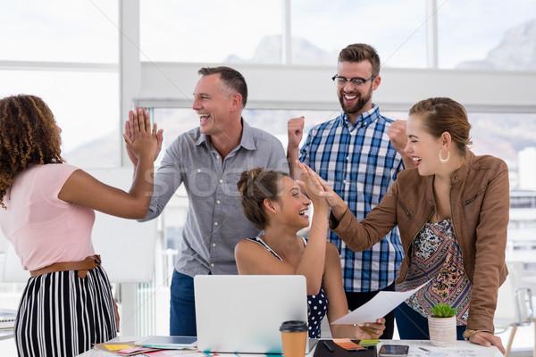 Сток-фото: команда · high · five · другой · служба · бизнеса