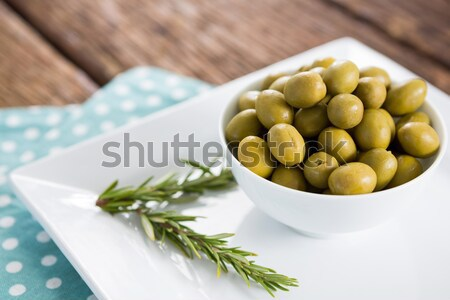 Close up of olives with lemon and herb Stock photo © wavebreak_media