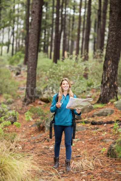 Young pretty hiker using compass and map Stock photo © wavebreak_media