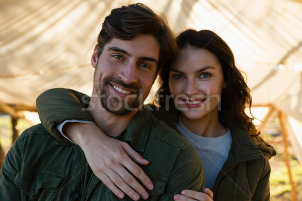 Portré mosolyog pár sátor fiatal pér áll Stock fotó © wavebreak_media