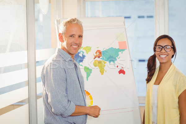 Happy business people with world map in meeting room Stock photo © wavebreak_media