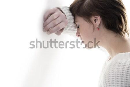 Békés nő imádkozik kezek csukott szemmel fehér Stock fotó © wavebreak_media