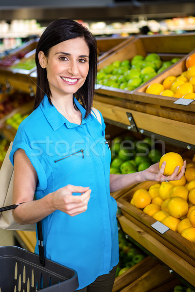 肖像 笑顔の女性 バスケット スーパーマーケット ビジネス 女性 ストックフォト © wavebreak_media