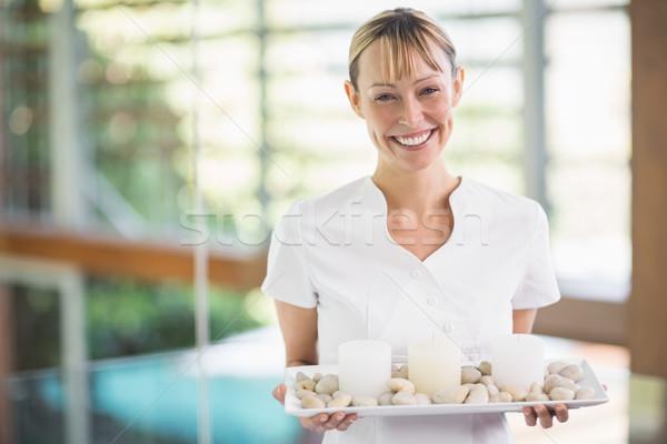 肖像 笑みを浮かべて 女性 マッサージ師 トレイ ストックフォト © wavebreak_media