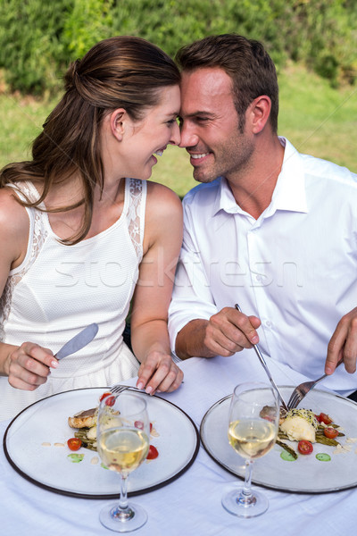 Smiling young couple sitting in lawn Stock photo © wavebreak_media