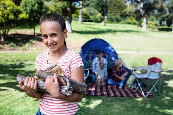счастливая девушка дрова девушки человека ребенка Сток-фото © wavebreak_media